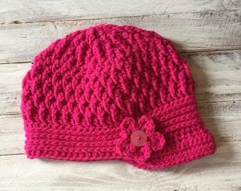 Handmade hat, Crochet Brim hat,Newsboy Hat, women's hat with Flower,women's hat with Button, women's brim hat, women's newsboy hat