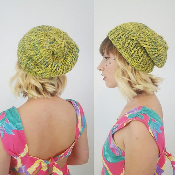 Handknit Handmade Lime Green Slouchy Hat - Boho Hipster Art Fashion Style Unique Womens Accessory Soft Warm Winter Fall Upcycled Yarn Beanie