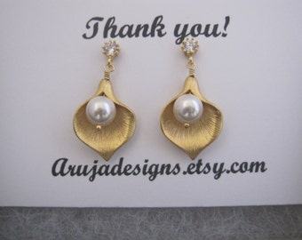 Gold Calla Lily earrings with CZ, Calla lily necklace, Calla lily necklace and earrings set, earrings with ear post