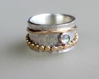 Spinner Ring, Meditation Ring, Mother Gift, Labradorite Fidget Ring, Spinning Ring, Gold Spinner Ring, Fiddle Ring,  Boho Ring