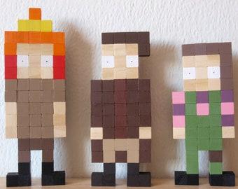 FIREFLY Mal Kaylee Jayne Wooden Pixel Figures set of 3