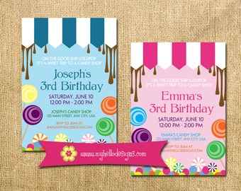 Candy Inspired birthday invitation -- any colors, sweet treats lollipop boy girl invite candy shop chocolate carnival sugar starburst custom