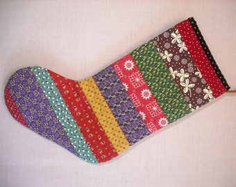 Quilted Christmas Stocking - Strings - 19th Century Prints
