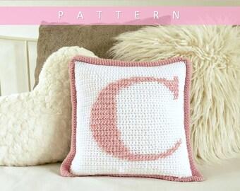 Crochet Pillow Pattern/ Crochet Cushion Cover Pattern/ Alphabet Pattern