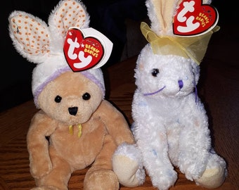 TY Beanie Babies Springston & Carrots Easter beanies
