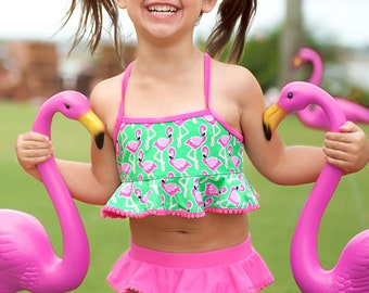 Girls  swimsuit. Kids swimsuit. Girls bathing suit. Monogram bathing suit. Personalized swimsuit.  Flamingo. Beachy Keen. Mer-Mazing