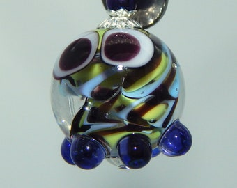Squeedle Charm Clip Cute Character Octopus Bead Glass Lampwork Diabetes Black Green Gray Stripes Charm