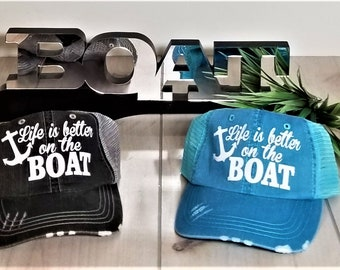 Life Is Better On The Boat Baseball Hat, Boat Hat, Boating Hat, River Lake Summer Trucker Hat Women's Trucker Hat Glitter Party Hat