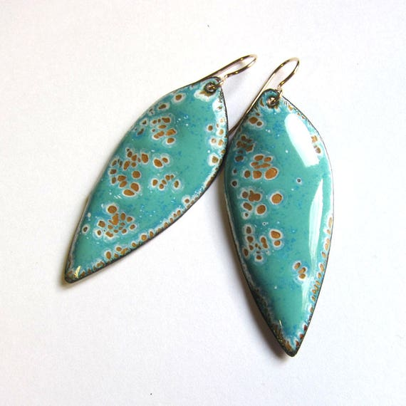 Big aqua green enamel leaf earrings Large enameled gold wire