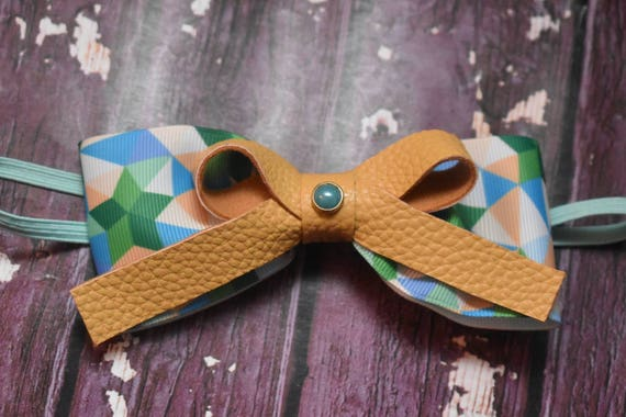 Mint green and blue geometric print with mustard bow - Baby / Toddler / Girls / Kids Headband / Hairband / Hair bow / Barette / Hairclip