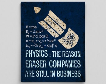 Science Physics Funny Print Science Teacher Gifts for Teachers Funny Science Art Typographic Print Sarcastic Poster Sarcasm Funny Poster