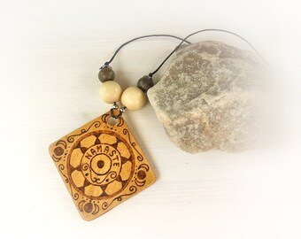 "Namastè wooden pendant 2"" square, pyrography art necklace made in italy, mandala medallion, gift idea for girlfriend, mother, cousin, aunt."