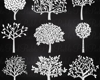 Chalkboard Tree Silhouettes Clipart Clip Art, Family Tree Clipart Clip Art - Commercial and Personal Use