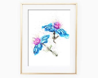 Blue Flower Watercolor Painting, Blue Flower Art, Blue Flower Painting, Blue Flower Art Print, Blue Flower Wall Art, Contemporary Art