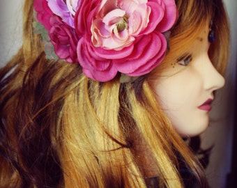 Pinup Hair Flower - Pink and Purple