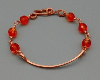 Copper Bracelet, Wirewrap Czech Beads, Ombre Orange