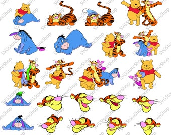 Winnie the Pooh svg, 24 Donkey Eeyore svg clipart, Disney svg files silhouette digital files svg dxf png Ai pdf svg files for cricut