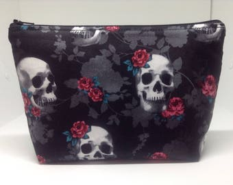 """Skulls and Roses Zipper Pouch ~ Cosmetics Bag ~ Stand Up Pouch ~ Essentials/Accessories Pouch Large 9""""x 6""""!"""