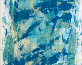 Punta Cana beach | Abstract seascape | bold modern landscape | Caribbean sea | turquoise art | metallic gold paint | 24x18 original painting