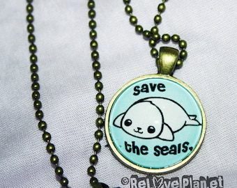 "Save the Seals 1"" Pendant Necklace - or 2 for 20 - kawaii seal - ReLove Plan.et"