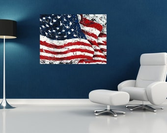 American Flag wall art, USA Flag, Red White Blue art, Patriotic art,  Metal prints, Pittsburgh Artist,  by Johno Prascak