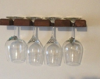 Floating shelf - Red Wine Glass Holder - handmade, beautiful wood shelf holds 4 wine glasses securely.