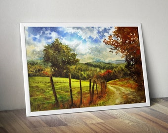 watercolor landscape print - autumn trees painting  - rural landscape print - country road watercolor - nature painting - colorful  print