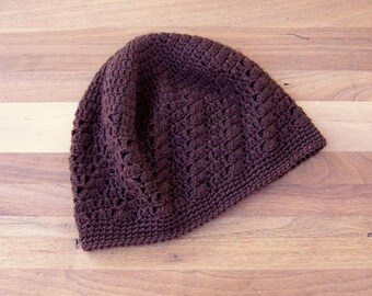 Crochet Kufi Hat - Lace Beanie - Skull Cap - Brown