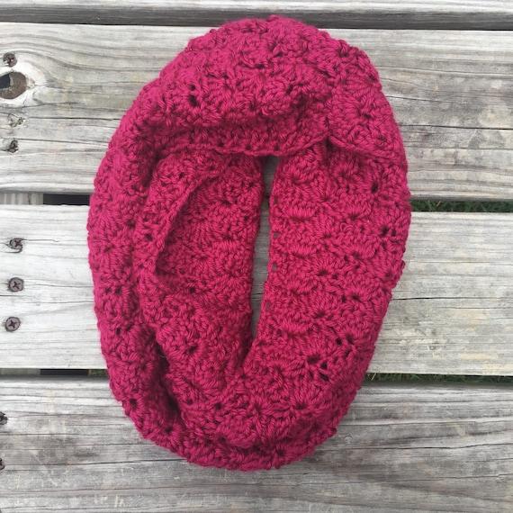 Berry Crochet Shell Stitch Scarf Infinity Scarf
