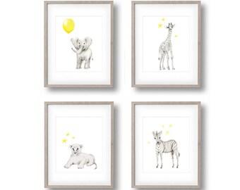 Safari Nursery Art Set Of 4 Prints Elephant Giraffe Lion Zebra Yellow And Grey Animal Childrens Wall Decor Toddler Room