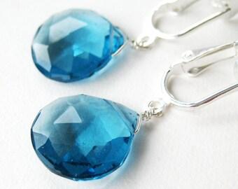 London Blue Clip-on Earrings, Blue Quartz Teardrop Clipons, Silver Ear Clips, Medium Sapphire Faceted Drop Earrings, Handmade, Crystal Lake