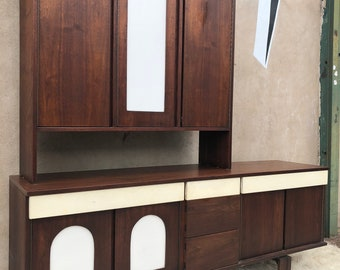Walnut Server with Hutch and Formica Fronts