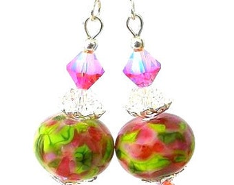 Pink and green lampwork earrings, artisan lampwork glass earrings, multicolor lampwork, fuchsia pink and green