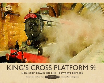 Retro Harry Potter Hogwarts Express Train King's Cross Watercolour Vintage Travel A4 A3 A2 Poster Print