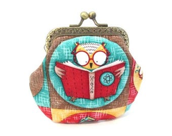 Owl change purse, clutch coin pouch, bronze kiss lock clasp purse, metal frame pouch, wise owl fabric bag