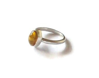 Silver Citrine Ring - November Birthstone Ring - Sterling Silver - Birthday Gift -Statement Ring - Valentine's Gift - Mother's Day Gift