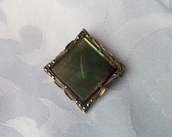 Vintage Black Mother of Pearl and Sterling Silver Brooch Pendant