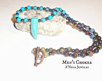 "Men's Necklace, Semi-Precious Gemstone ""Endless Possibilities"" , By ANena Jewelry"