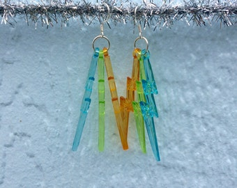 Blue + Green + Orange Lightning Bolt Earrings w/ silvery hooks