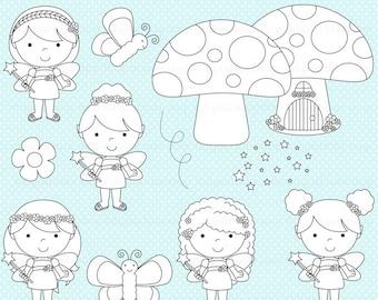 fairy digital stamps fairies clipart clip art - Fairy Friends Digital Stamps