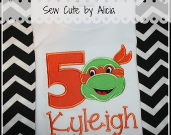 Turtle Birthday Shirt...Orange
