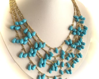 Turquoise Multi Strand Necklace Turquoise and Gold Chain Necklace Statement Necklace Blue Stone Necklace