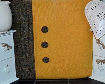 "HARRIS TWEED CUSHION cover - 18 by 18"" - includes cushion mustard & traditional tartan"