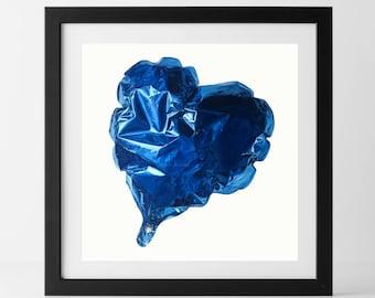 Limited Edition Foil Heart Balloon Print - Blue