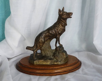 French Statuette of a Dog - German Shepherd Dog Statue - Alsation Dog Statue - Bronzed Figure of a Dog on Wooden Base - Cast Dog Sculpture