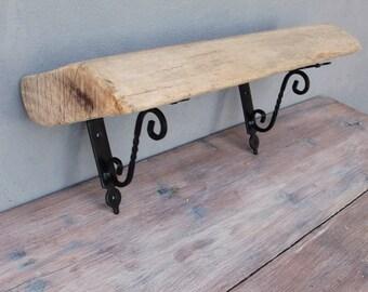 Rustic Driftwood Shelf, Book Shelf, Display Shelf Metal Reclaimed wood Home Decor