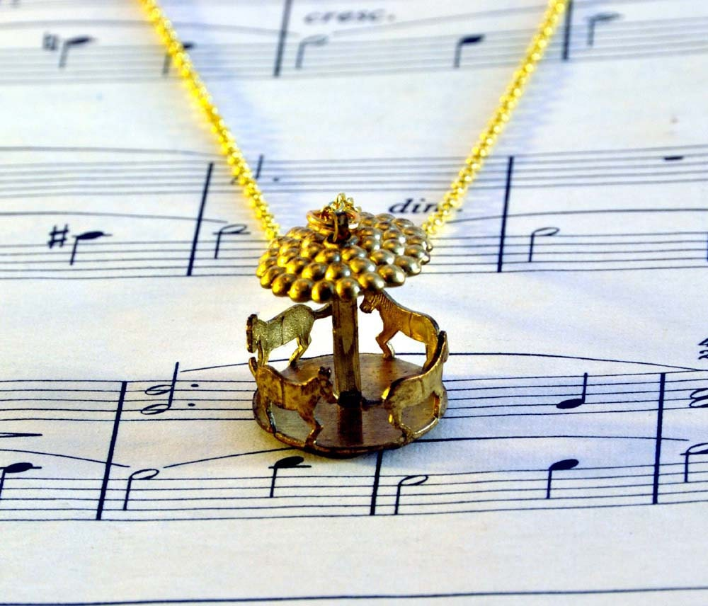 Working Carousel Necklace - Spinning Merry Go Round Necklace - Carnival Jewellery