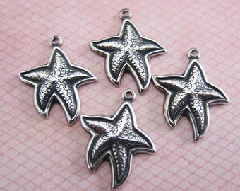 4 Silver Starfish Charms 3168