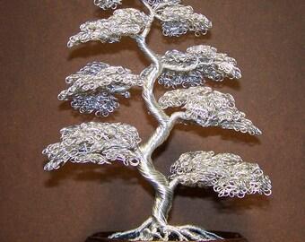 Moyogi Style Bonsai Wire Tree Sculpture (Bright Silver)