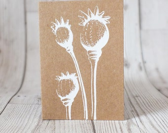 Screen Printed Seed Pods Card - Greetings Card, Blank Card